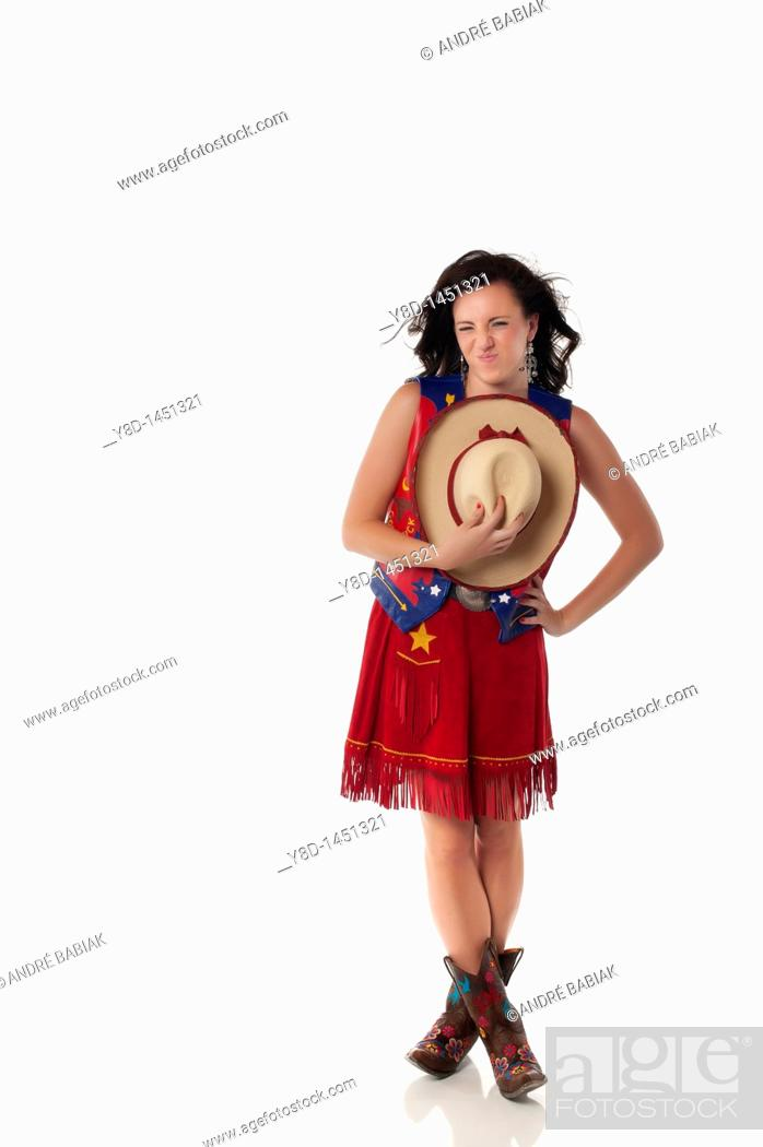 Stock Photo: Young woman in cowgirl outfit.