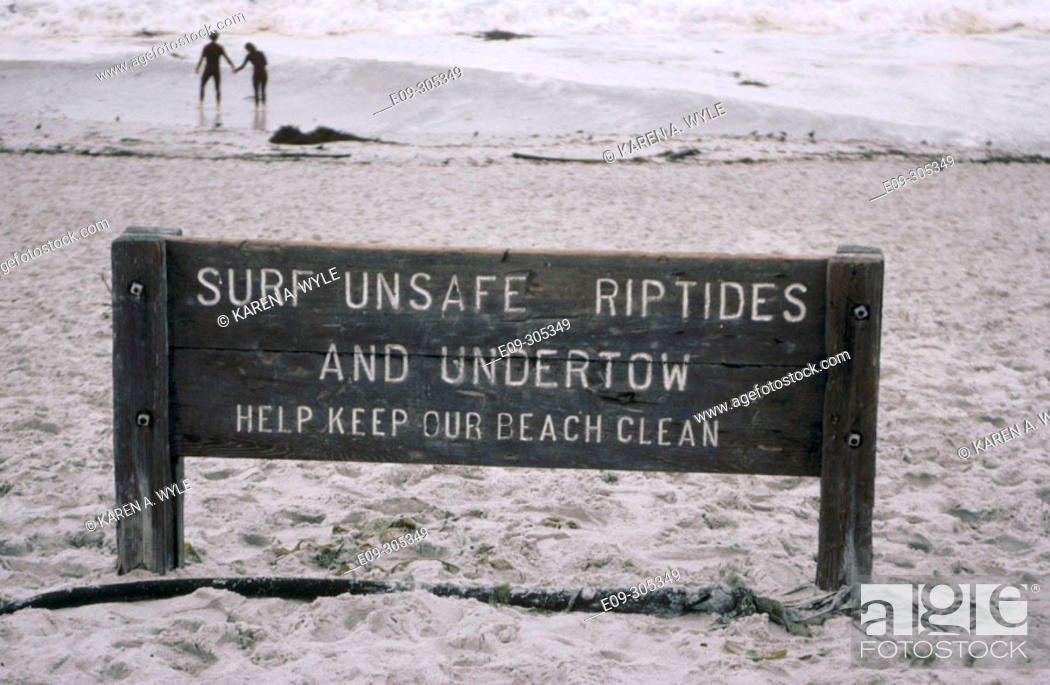 Stock Photo: 'Surf Unsafe Riptides' sign on beach, Carmel, California, USA.