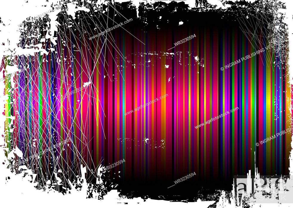 Vector: Striped rainbow background overlayed by a grunge effect.