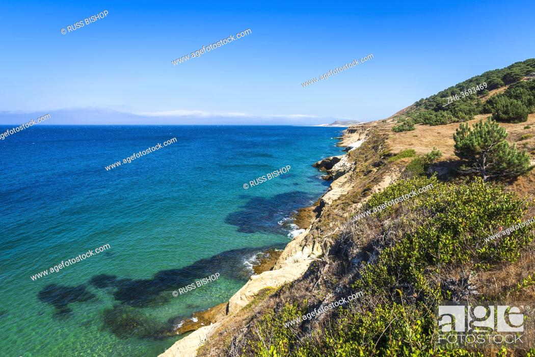 Stock Photo: Santa Cruz Island from the Torrey Pines trail, Santa Rosa Island, Channel Islands National Park, California USA.