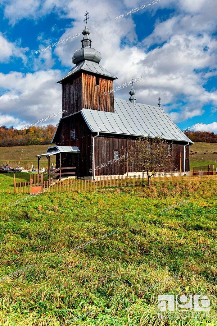 Stock Photo: Hutka, wooden church, Slovakia,.