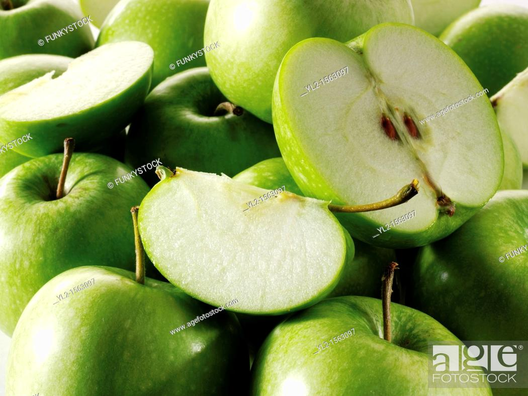 Stock Photo: Granny Smiths Green Apples.