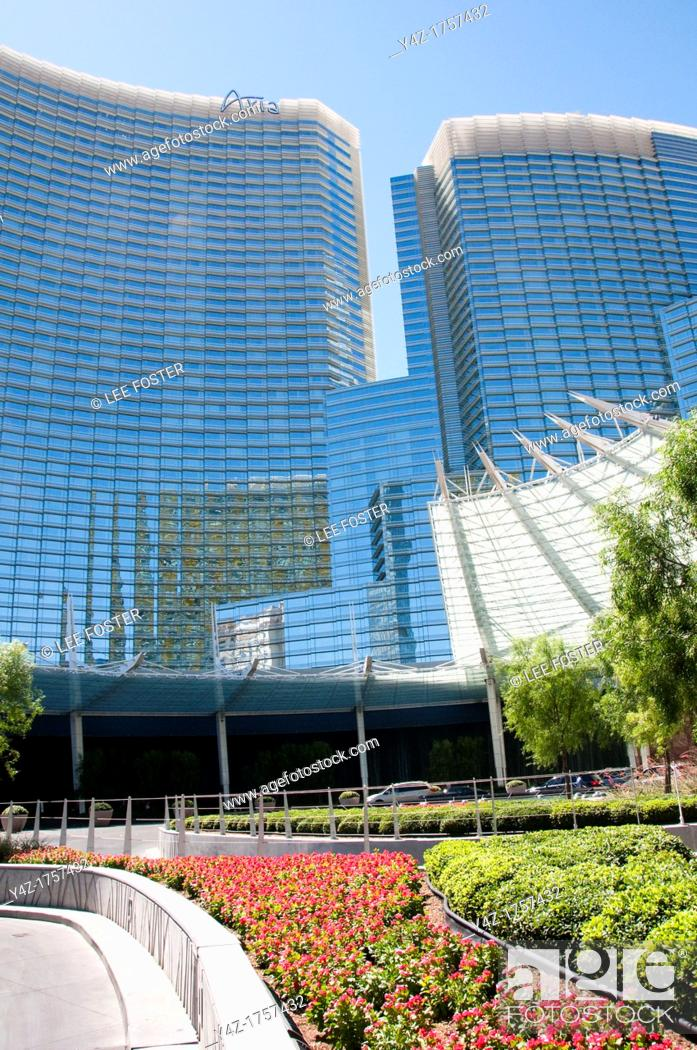Stock Photo: USA Las Vegas, Aria resort on the Strip, with its emphasis on design and outdoor pools  Exterior design at front of resort.