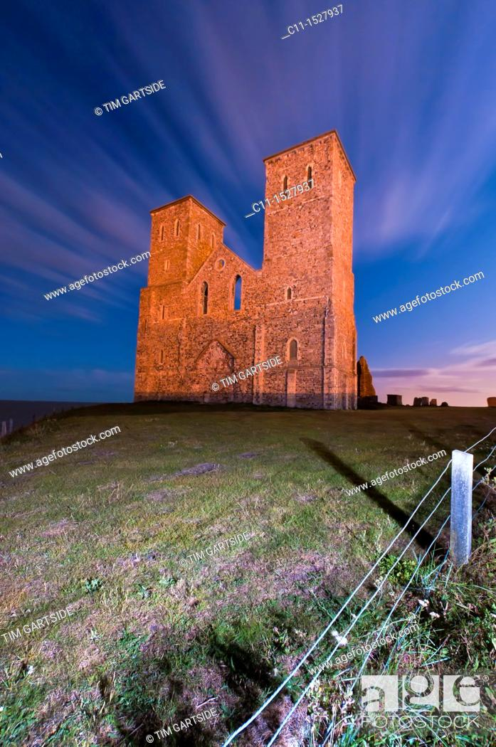 Stock Photo: Reculver Church Towers at low tide near Herne Bay Kent England.