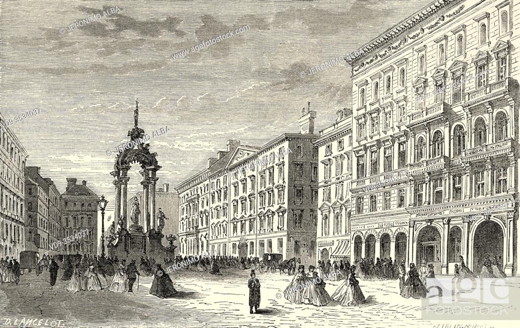 Stock Photo: Hoher Markt, Vienna, Austria Europe. Old 19th century engraved illustration, Le Tour du Monde 1863.