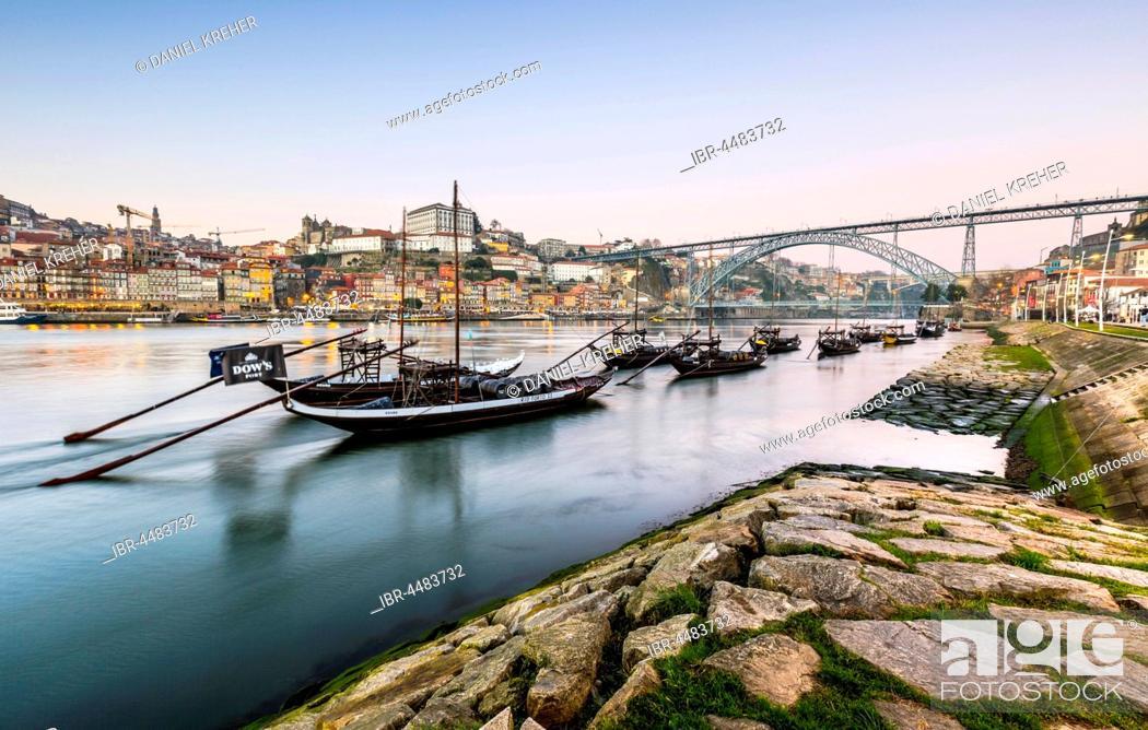 Stock Photo: Rabelo boats, port wine boats on the Rio Douro, Douro River, Porto, Portugal, Europe.