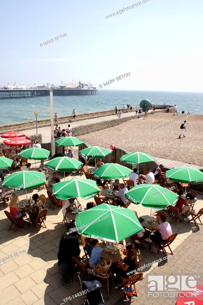 Stock Photo: Cafe at Brighton Beach Sussex.