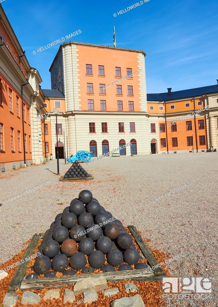 Stock Photo: Cannonballs and cannons, Vaxholm Fortress, Sweden, Scandinavia.