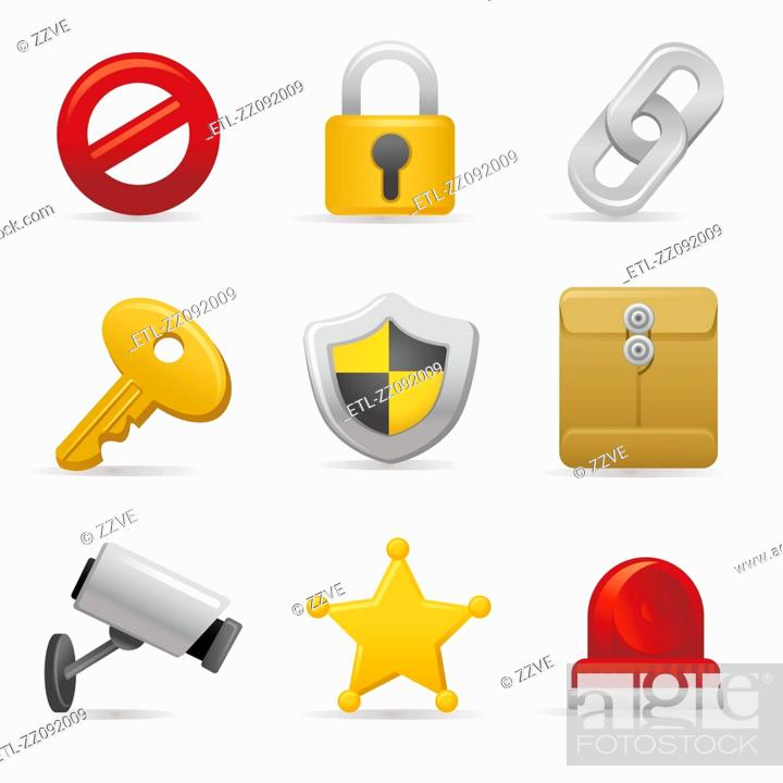 Stock Photo: Security and safety icon set.