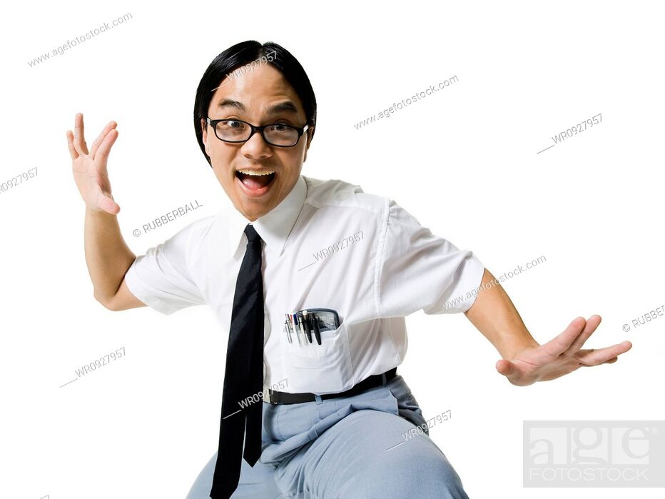 Stock Photo: Office worker with enthusiastic look.