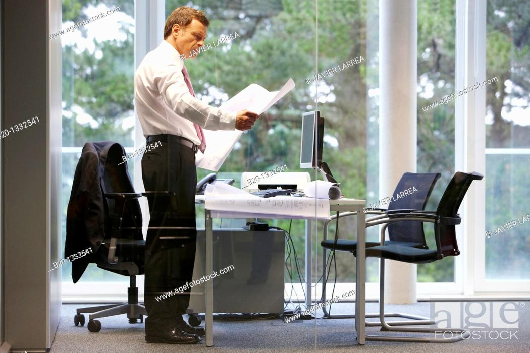 Stock Photo: Architect with blueprints in office.