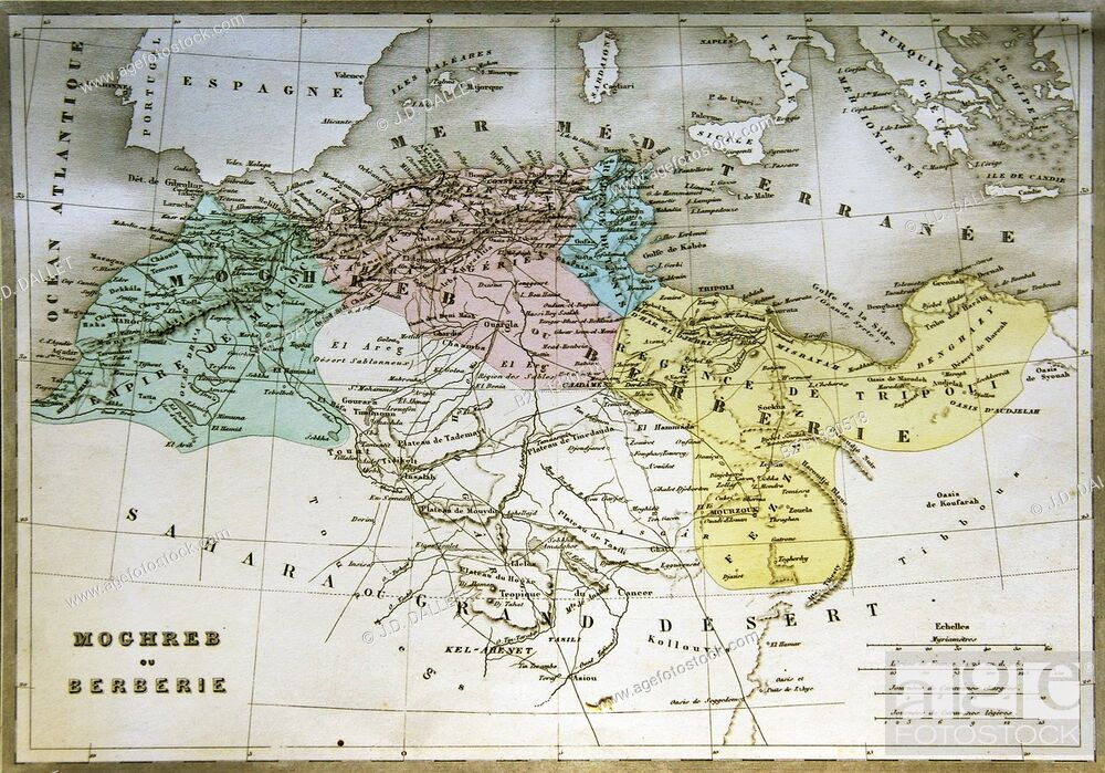 19th Century Africa Map.19th Century Map Of Maghreb Covering Morocco Algeria Tunisia And