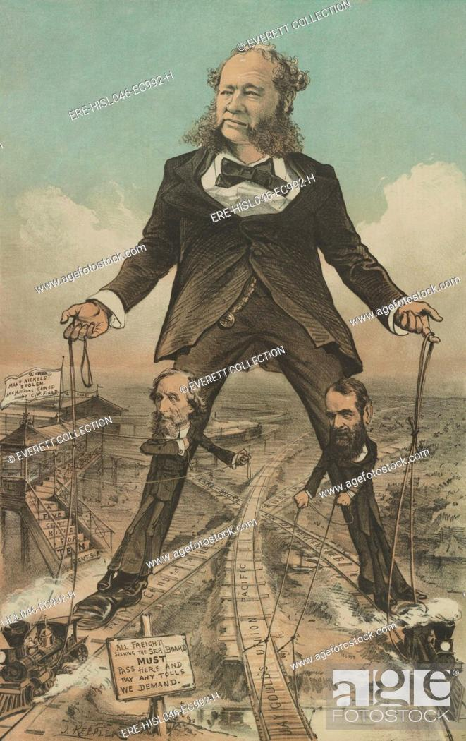 Stock Photo: THE MODERN COLOSSUS OF (RAIL) ROADS, 1879 political cartoon in PUCK MAGAZINE. A giant William Henry Vanderbilt, President of the New York Central Railroad.