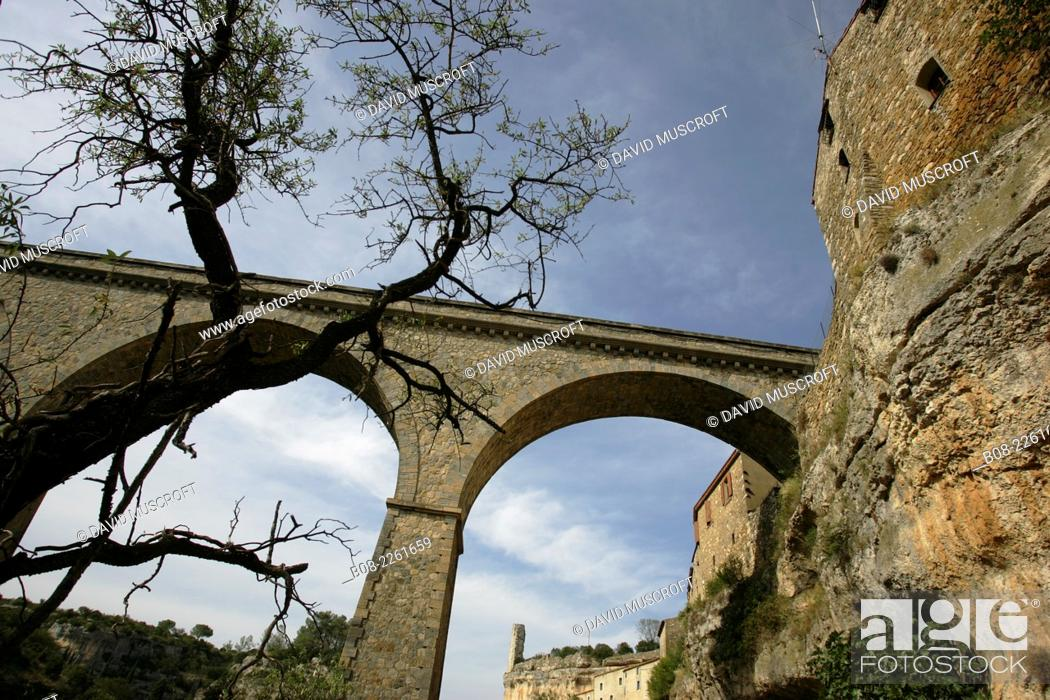 Stock Photo: the mountain village of Minerve, Languedoc, southern France.