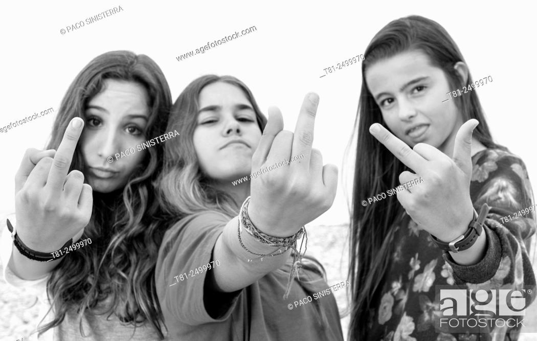 Stock Photo: Middle fingers.