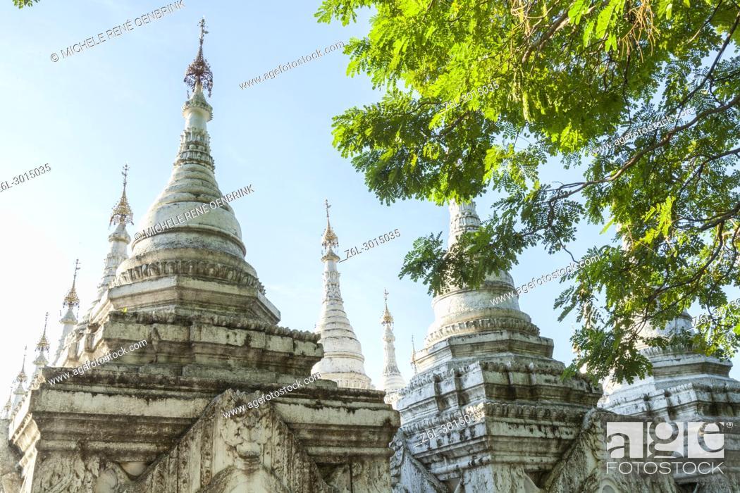 Stock Photo: Kuthodaw Pagoda in Mandalay Myanmar.