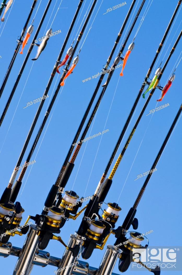 Stock Photo: Fishing poles with lures on ocean charter fishing boat, Oregon.