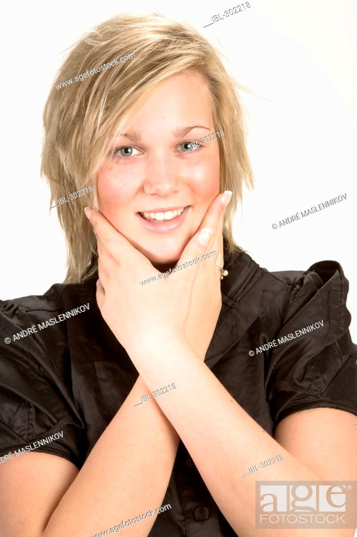 Stock Photo: Young blond woman.