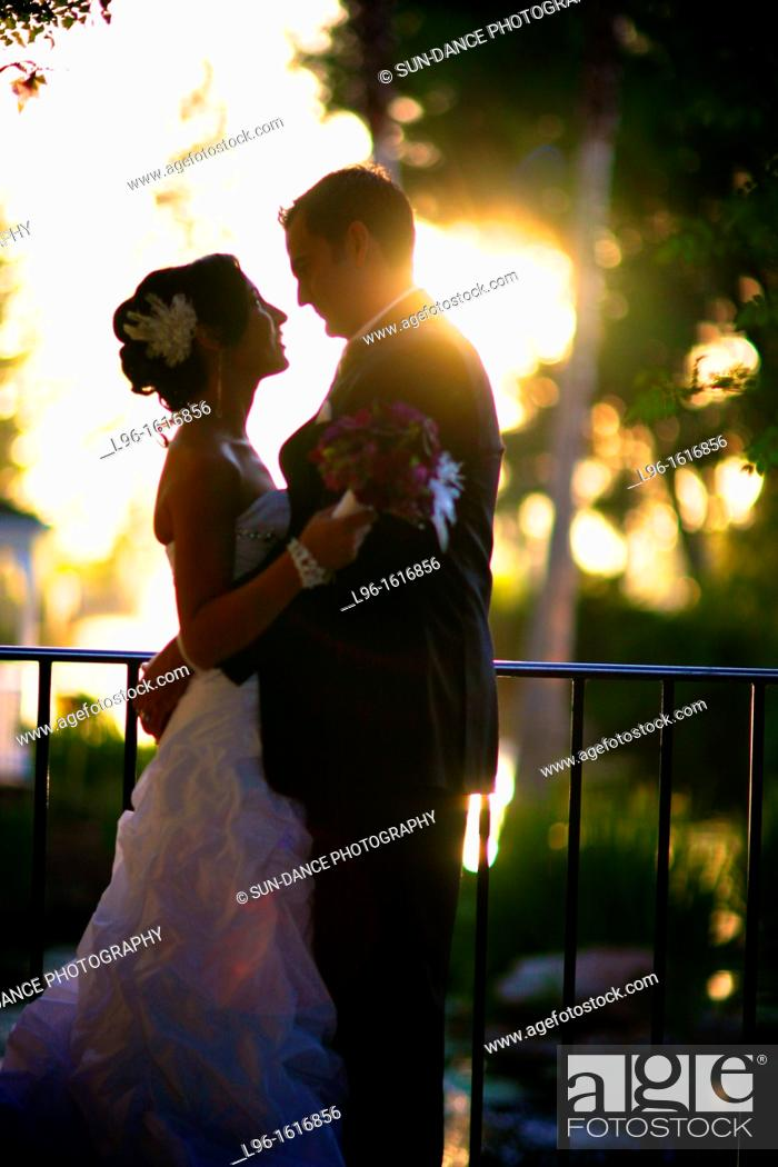 Stock Photo: bride groom embracing at sunset after wedding.