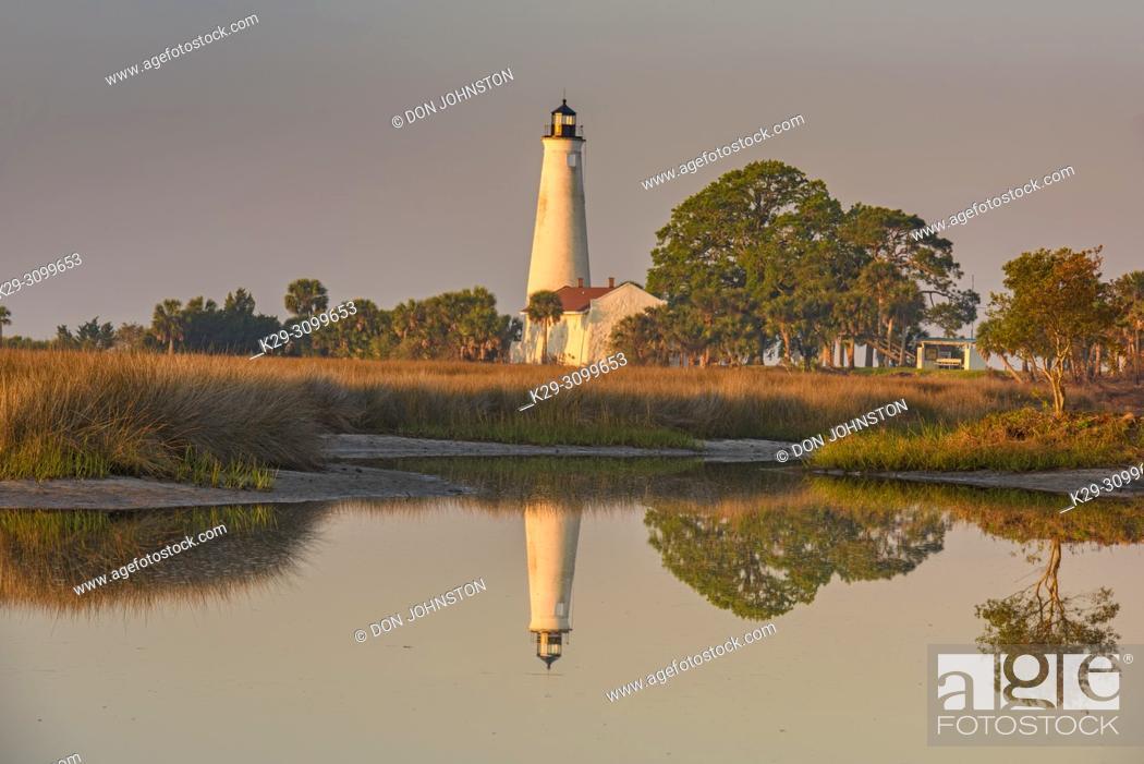 Stock Photo: St. Marks Lighthouse, St. Marks NWR, Florida, USA.