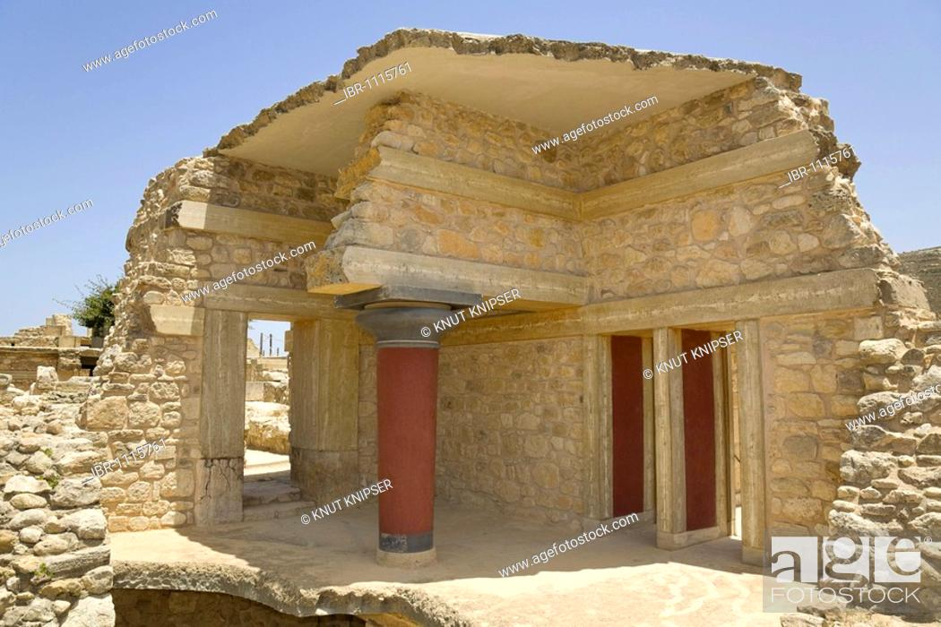 Stock Photo: Section of the Southern Propylaea on the grounds of the Minoan excavation of Knossos, Heraklion, island of Crete, Greece, Europe.