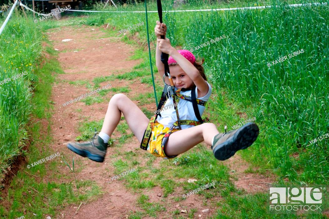 Stock Photo: Girl in the woods, La Molina, Lleida, Spain.