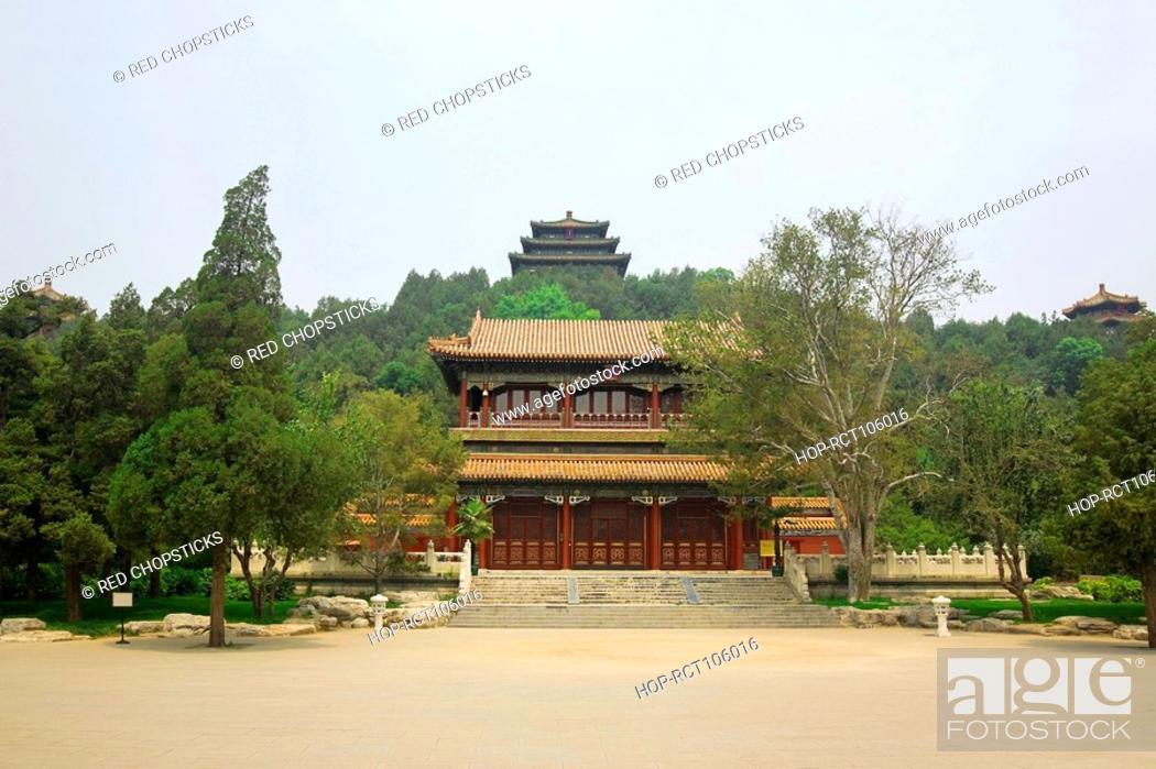 Stock Photo: Facade of a palace, Forbidden City, Beijing, China.