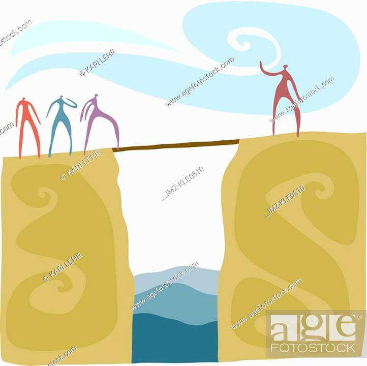 Stock Photo: A person bridging the gap for others to follow.