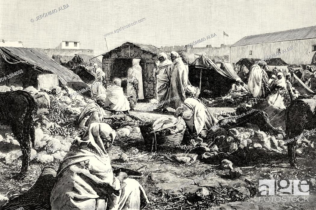 Stock Photo: Daily life in the souk of Mazagan, Morocco, Africa. Old XIX century engraved illustration from La Ilustracion Española y Americana 1894.