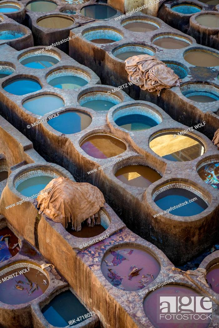 Stock Photo: Worker dyeing leather, basin with paint, dyeing, tannery Tannerie Chouara, tanner and dyer quarter, Fes el Bali, Fes, Morocco.