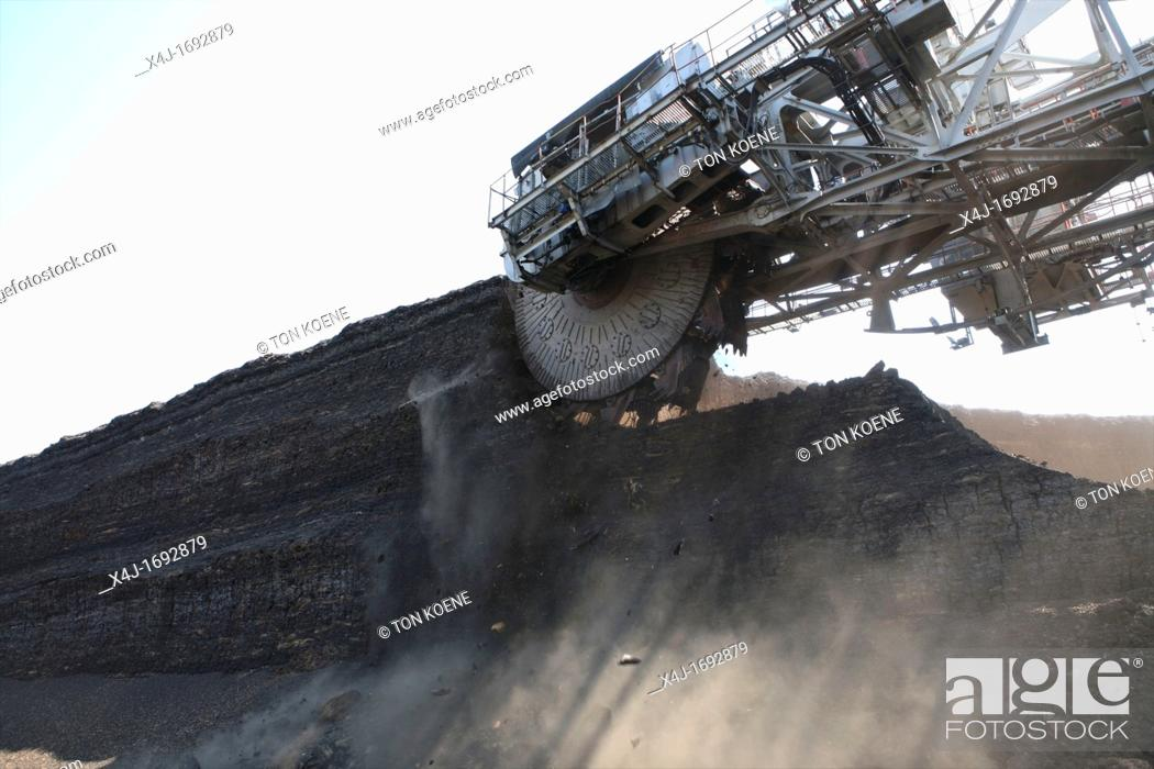 Stock Photo: Maritsa Iztok is the largest coalmine in Bulgaria The coals are located 60 meter underground and the layer of coal is around 20 meter The coals are used for.
