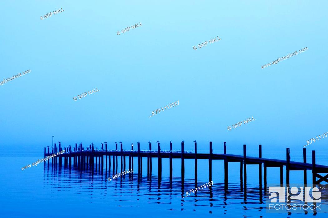 Stock Photo: Early morning fog surrounds a dock.