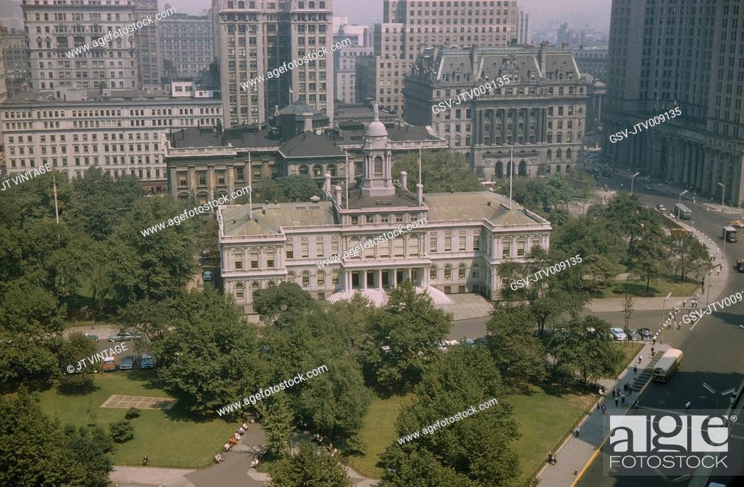 Imagen: City Hall, High Angle View, New York City, New York, USA, July 1961.