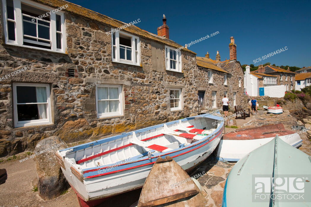 Stock Photo: An old fishing boat in Mousehole in Cornwall, UK.