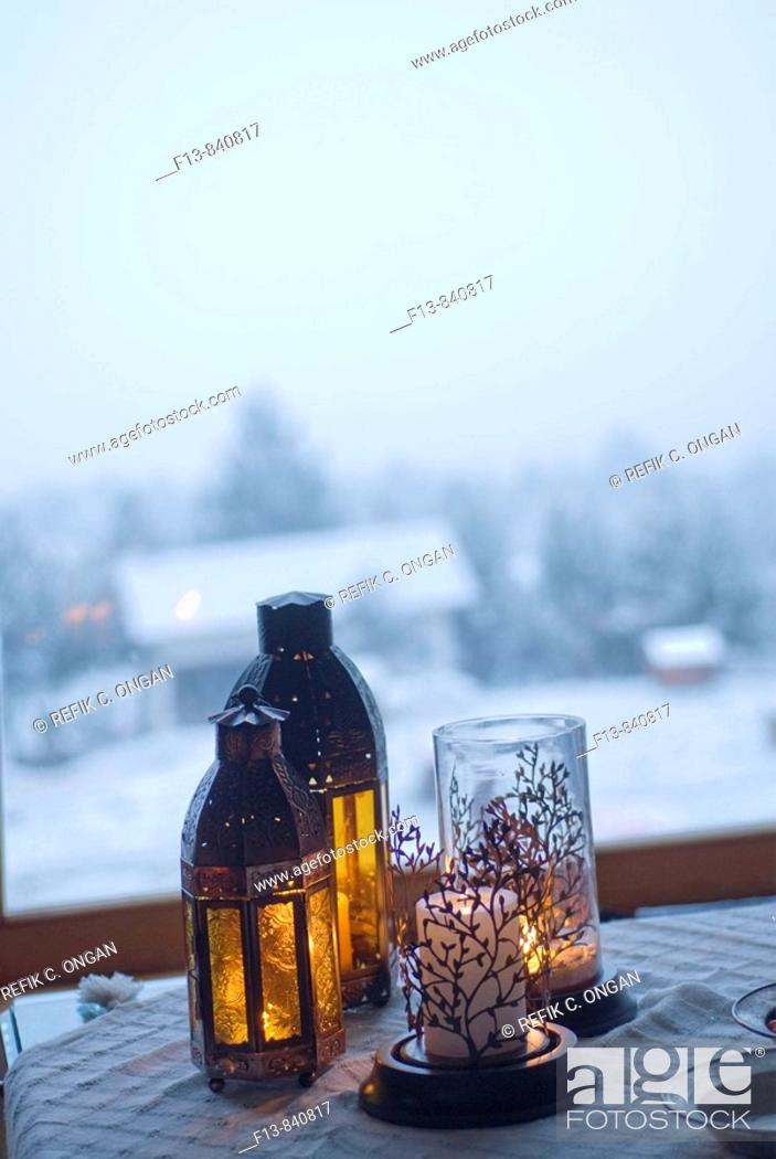 Stock Photo: candle lights in mountain house.
