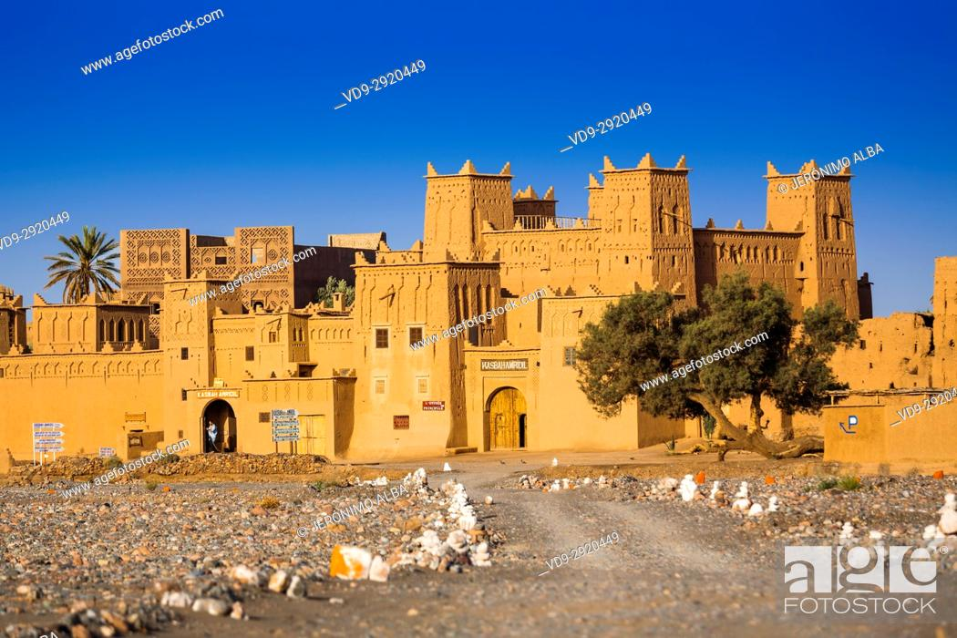Stock Photo: Hotel Kasbah Amridil, Dades Valley, Skoura oasis Palm Grove. Morocco, Maghreb North Africa.