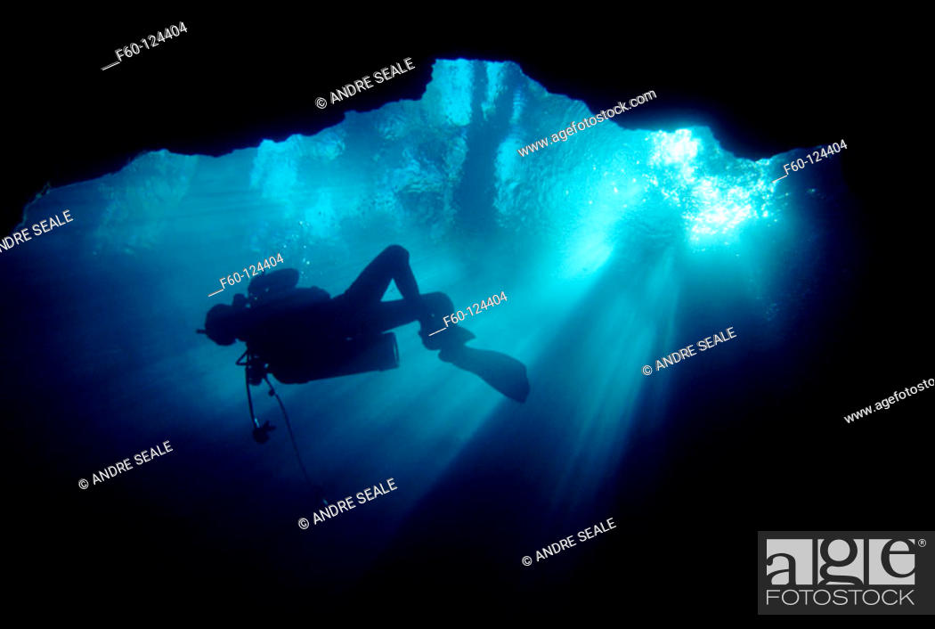 Stock Photo: Diver silhouette in fresh water spring. Northern Florida.