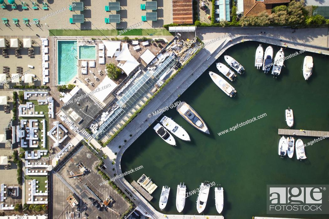 Stock Photo: Aerial view of a small port for the storage of pleasure boats.