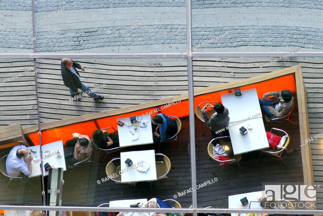 Stock Photo: Reflection. Restaurant. Maremagnum shopping centre. Barcelona. Spain.