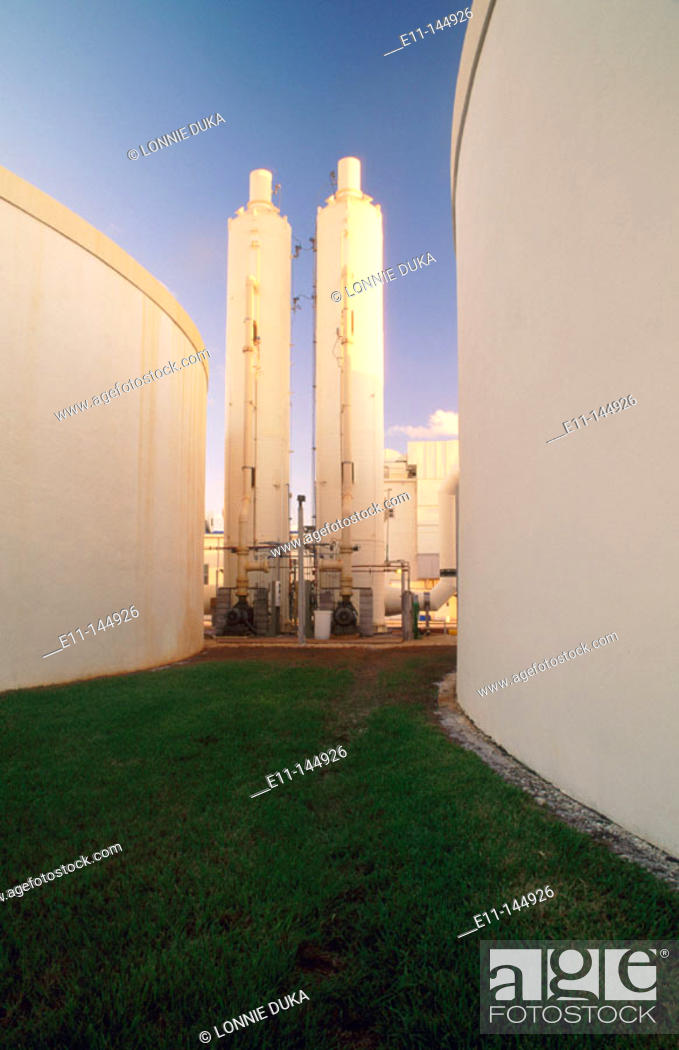Stock Photo: Waste water treatment plant, odor abatement. Jupiter. Florida. USA.