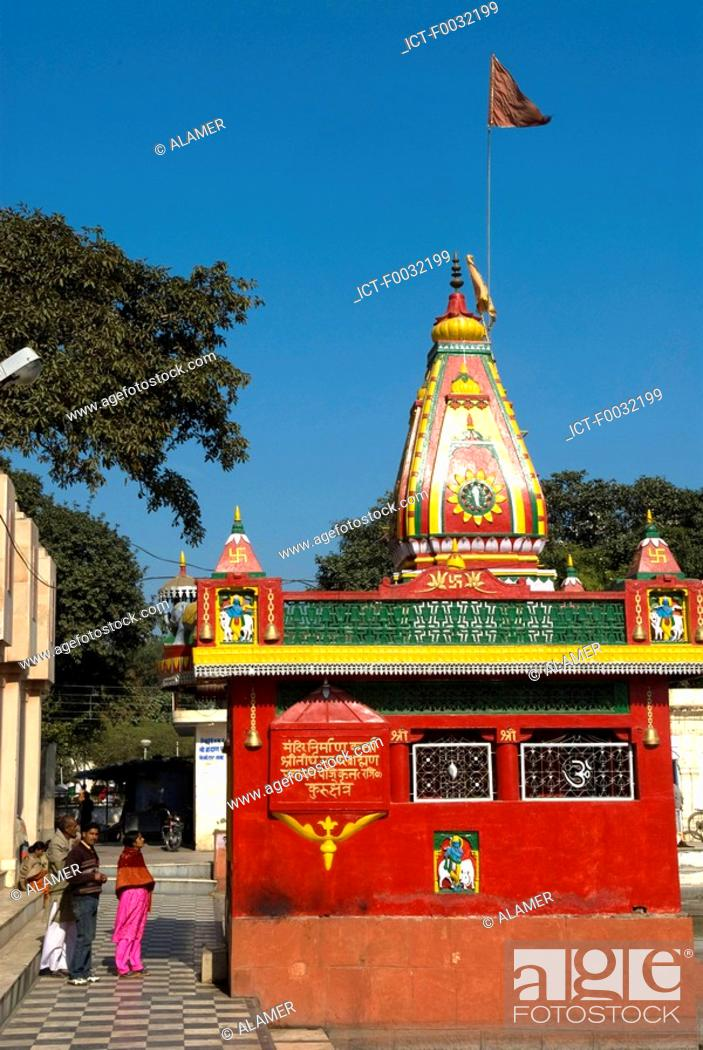 Stock Photo: India, Haryana, Kurukshetra, Sannihit Sarovar, hindu temple.