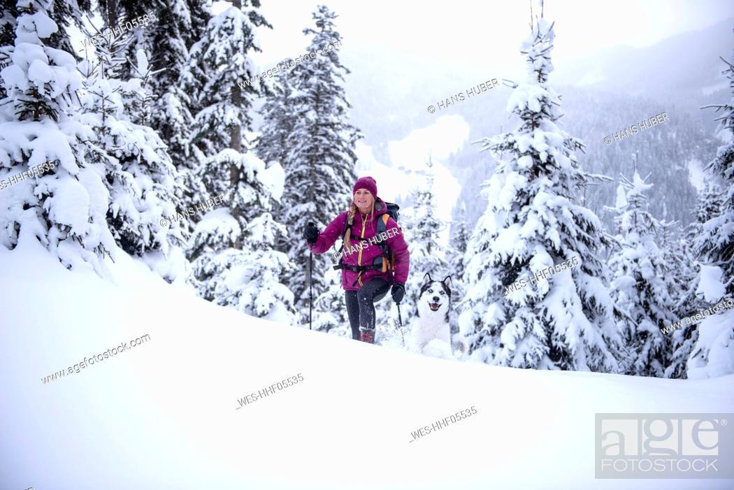 Stock Photo: Austria, Altenmarkt-Zauchensee, young woman with dog on ski tour in winter forest.