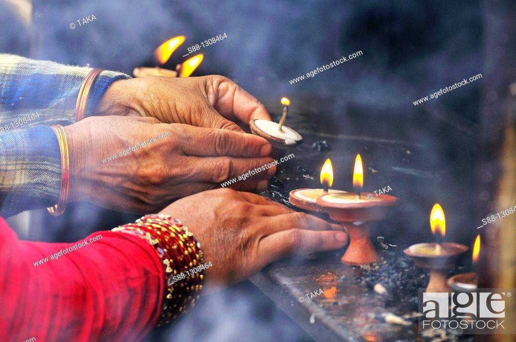 Stock Photo: People pra for the God at Swayambhunath temple.