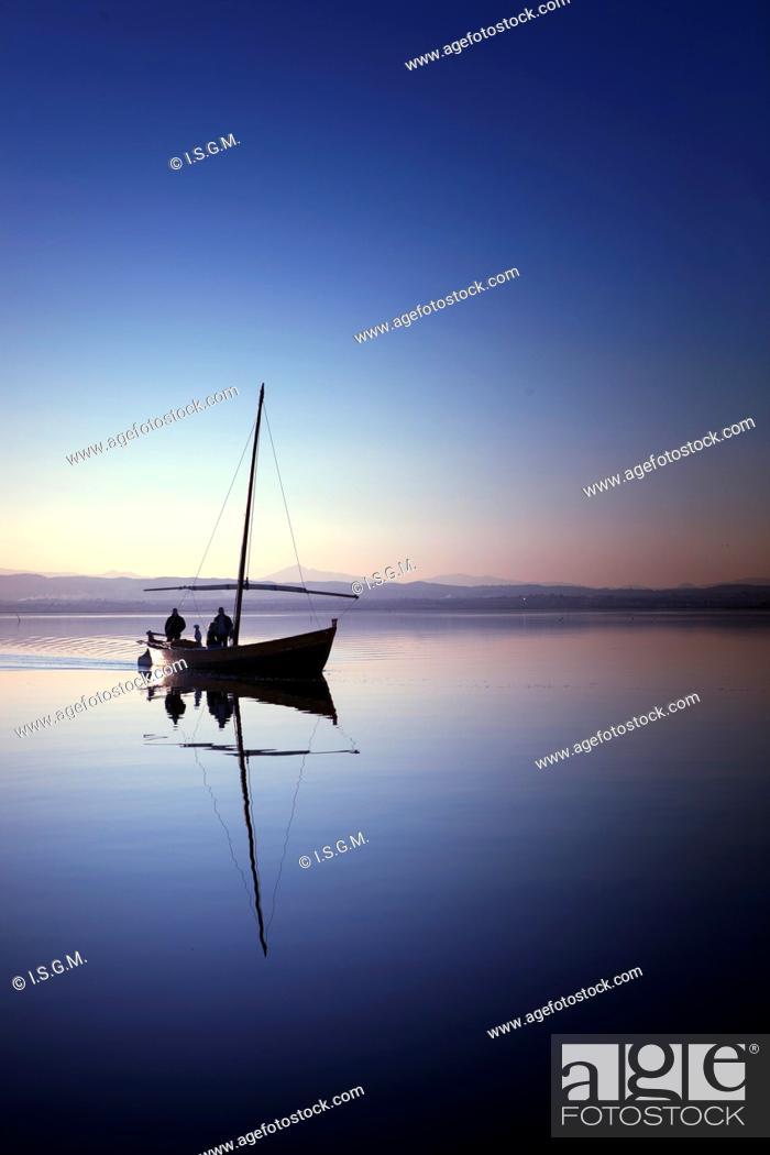 Stock Photo: Boat in Albufera Lake, Valencia, Spain.