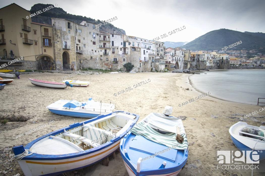 Stock Photo: Cefalu old port Sicily village on the sea Italy.