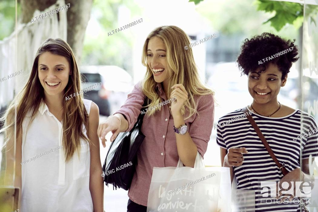 Stock Photo: Friends shopping together.