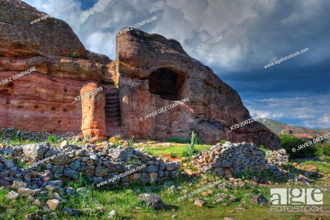 Stock Photo: Rock Dwelling. Celtiberian and Roman Archaeological Site of Tiermes. Montejo de Tiermes. Soria Province. Castilla y Leon. Spain.