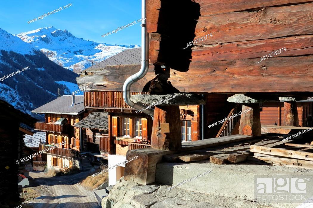 Stock Photo: Switzerland, Valais, Val d'Herens, village of Evolene in winter.