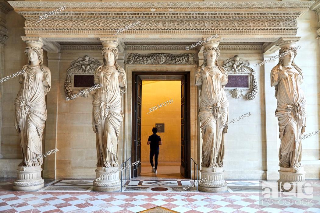 """Stock Photo: """"""""""""Salle des Caryatides"""""""", Musée du Louvre, Paris, France, Europe."""