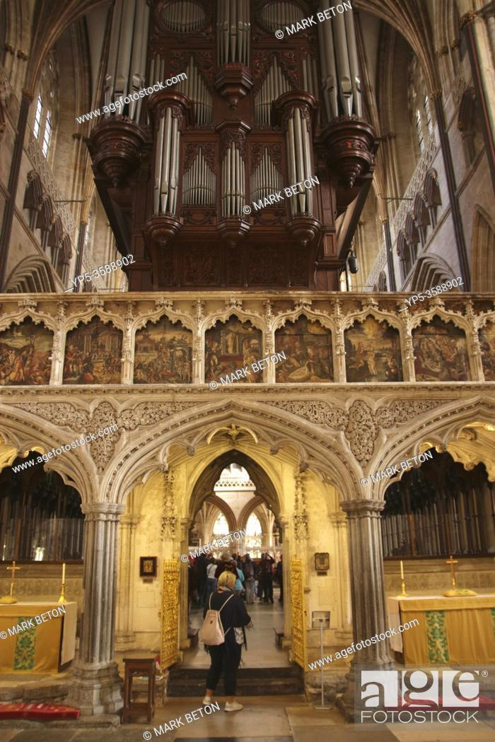 Stock Photo: Interior of Exeter Cathedral Devon UK.
